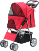 PAWISE Pet Stroller with 4 wheels-Red